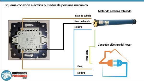Como van los cables al pulsador de la persiana